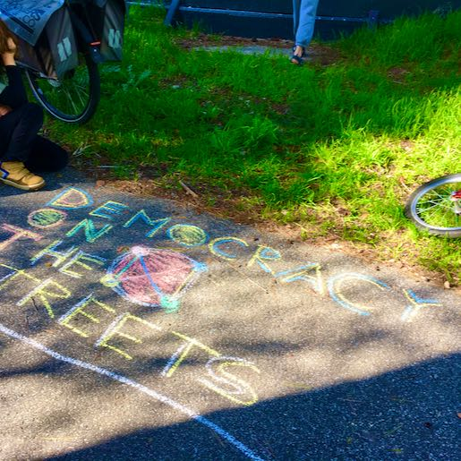 Democracy On The Streets. Colourful. Chalk.